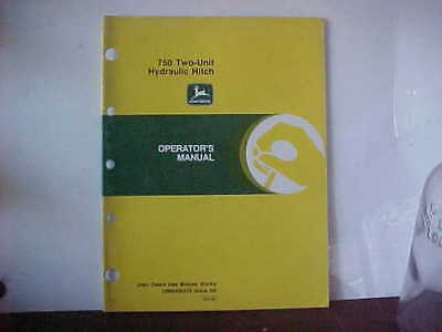 John Deere Operator's Manual 750 Two-Unit Hydraulic Hitch Issue H3