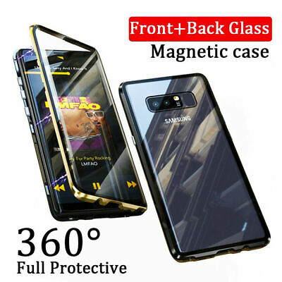 For Samsung Galaxy S8 S9 S10 Magnetic Absorption Case Tempered Glass Metal Cover