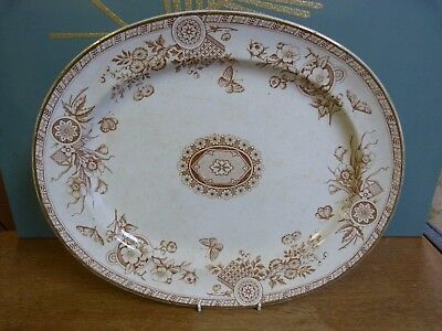 Osborne Victorian brown transfer ware oval serving plate platter, aesthetic era