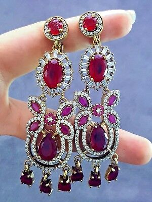 TURKISH HANDMADE JEWELRY 925 Sterling Silver Antique Ruby Earrings E2592