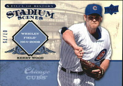 2008 UD A Piece of History Stadium Scenes Blue #SS12 Kerry Wood /75