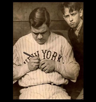 1924 Babe Ruth Signing Ball Autograph PHOTO Boy, New York Yankees,Boston Red Sox