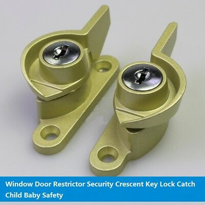 Window Door Restrictor Security Crescent Key Lock Catch Child Baby Safety