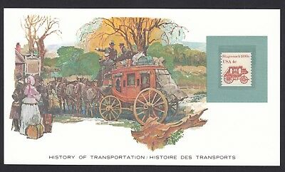 History Transportation USA American Stagecoach Horses Transport US Stamp Card