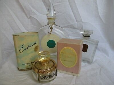 Lot 4 Flacons Parfums Anciens Dont Champagne Diorissimo Espace Cheramy
