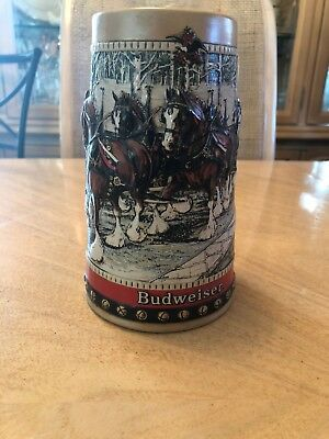 1988 Budweiser  Clydesdale Holiday Beer Stein