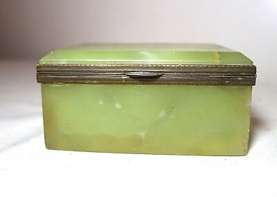 antique 1800's green onyx stone gilt bronze jewelry vanity casket box jar brass