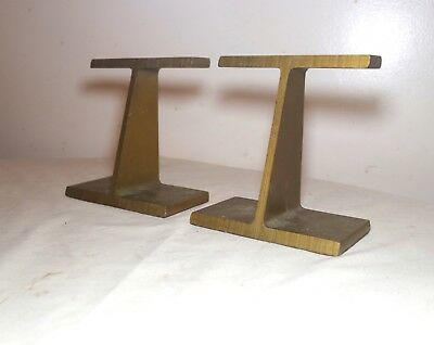 pair of vintage mid century modern modernist gold gilded cast iron bookends stop