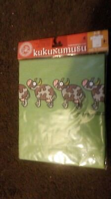 1 Kids Childrens T Shirts - Brand New KUKUXUSU cows(green) (3-5years)