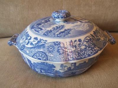 Spode ITALIAN blue and white ROUND VEGETABLE TUREEN serving dish WITH LID