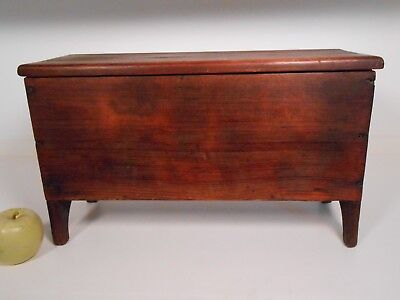 BEST Early Miniature Blanket Chest Primitive Antique Chestnut Color 19th c AAFA