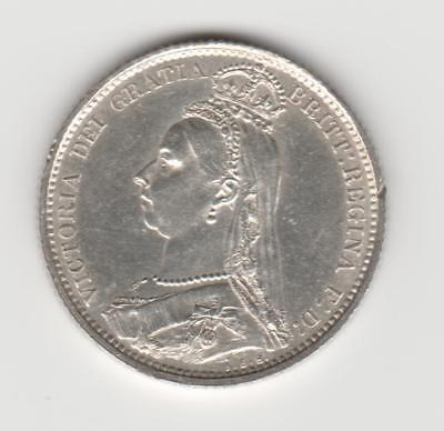 Great Britain 1887 Queen Victoria Silver Sixpence