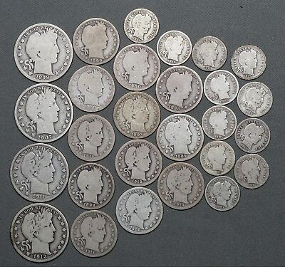 Lot of (27) Barber Silver Dimes, Quarters & Half Dollars, $6.10 Face Value
