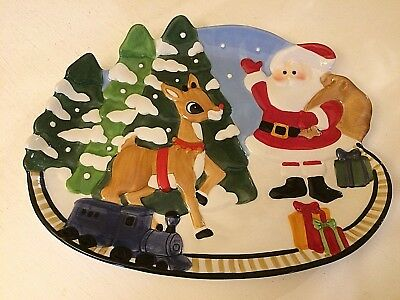"Lenox Rudolph the Red Nosed Reindeer Santa Cookie Canape 10"" Serving Plate"