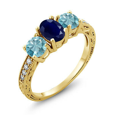 2.82 Ct Oval Blue Sapphire Blue Zircon 18K Yellow Gold Plated Silver Ring