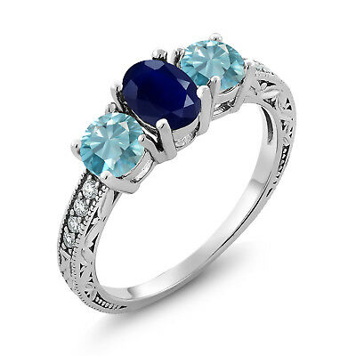 2.82 Ct Oval Blue Sapphire Blue Zircon 925 Sterling Silver Ring