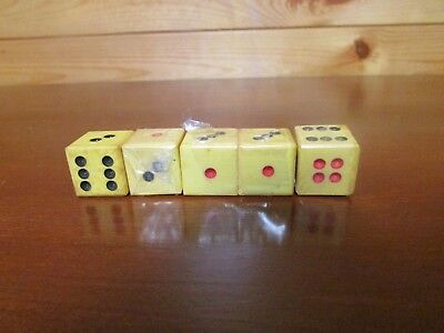 5 Vintage Dice Black & Red Dots Celluloid?  Bakelite? Butterscotch
