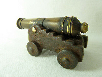 Vintage Antique Brass & Cast Iron Toy Cannon Makers Mark