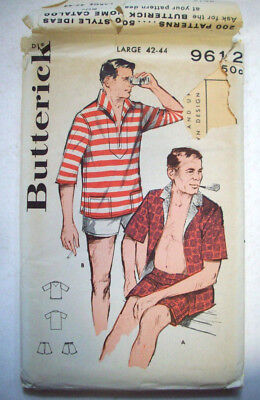 50's? Sport Cabana swim trunks shirt  pattern 9612 size large 42 44