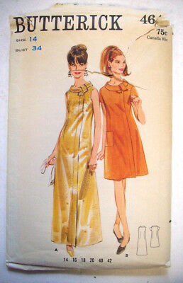 60's? Semi-fitted a-line dress pattern 4641 size 14