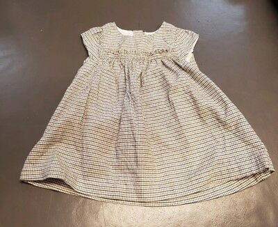 The Little White Company black and white checked dress age 0-3 months