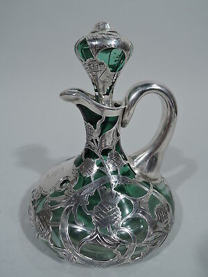 Antique Decanter - Antique Scotch Whiskey - American Green Glass Silver Overlay