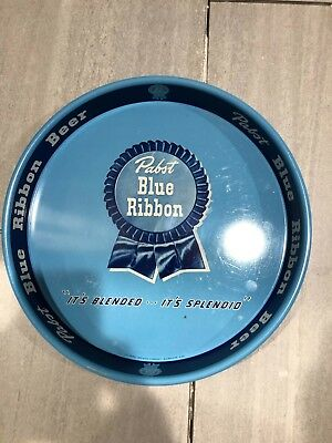 """Vintage METAL PABST BLUE RIBBON Finest Beer Served Anywhere! BEER TRAY 13.25"""""""