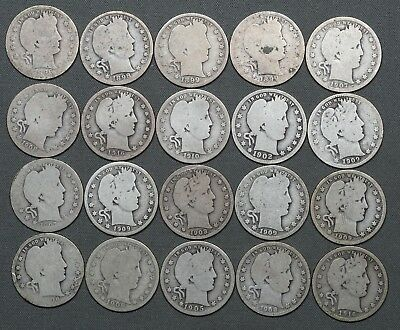 1896 - 1916 Barber Silver Quarters 25c - Roll of (20) Circulated Coins