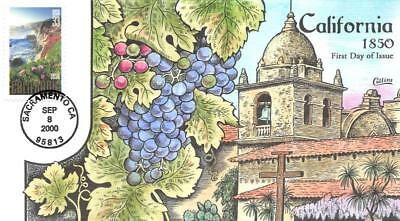 3438 33c California Statehood, Grapes & Mission, Collins Hand Painted [E427503]
