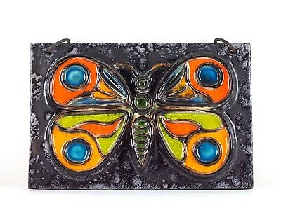 CARSTENS LUXUS 60s 70s West German Pottery Pop Art Butterfly Relief Wall Plaque