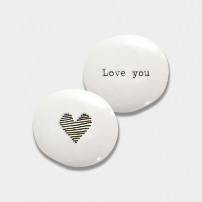 Tiny Porcelain Pebble LOVE YOU East of India 3.2 x 2.6 x 1.6 cm New