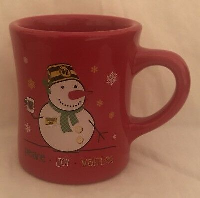 Waffle House Christmas Mug 2014 Restaurant Ware Coffee Cup Red Snowman