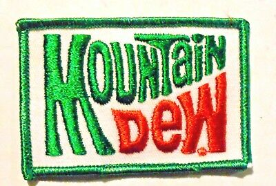 "Mountain Dew patch Soft Drink 2"" x 3"",  Vintage Green edge"