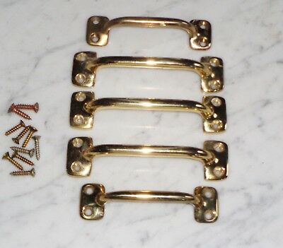 Set of 5 SOLID Vintage Brass Tone Sash Window Lift Drawer Pulls ~ 4 & 4 3/4 inch