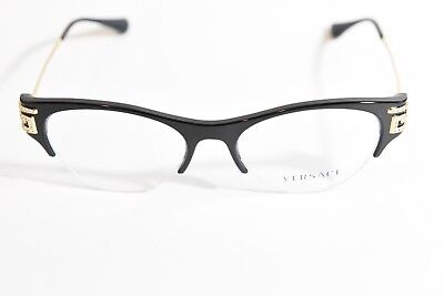 Versace Ve3226-B Half Rimless Cat Eye Eyeglass Frames Black Gold 51-18-140 New