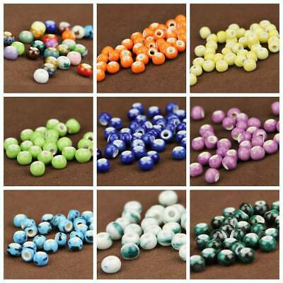 Wholesale 6/10/14mm Round Ceramic Loose Spacer Beads Charms Jewelry Findings