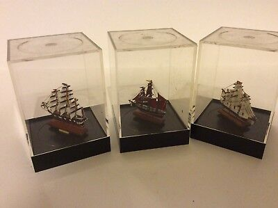 Set Of 3 Small Ship Models In Cases