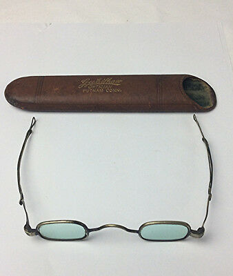 Antique 19th century eye glasses green tinted lens extensions & case