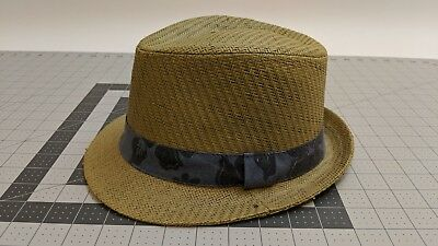 e8483390af9dc Old Navy Men s Straw Fedora with Black Trim Hat Size 7-3 8 White.