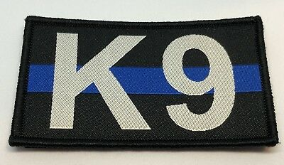 K9, Thin Blue Line, Police Patch, Woven, Law Enforcement, TBL, Hook Rear