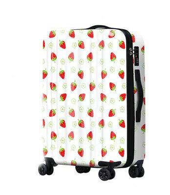 D629 Lock Universal Wheel White Strawberry Travel Suitcase Luggage 20 Inches W