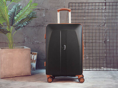 D889 Black ABS Universal Wheel Coded Lock Travel Suitcase Luggage 20 Inches W