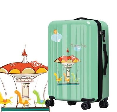 D174 Lock Universal Wheel Green Carousel Travel Suitcase Luggage 24 Inches W