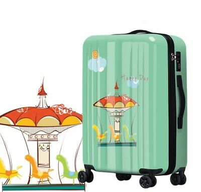 D173 Lock Universal Wheel Green Carousel Travel Suitcase Luggage 20 Inches W