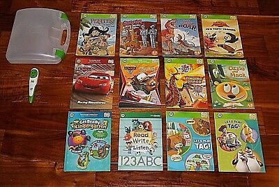 Leap Frog Tag Reader Pen Reading System Case USB Cable 12 Boy Books *Ships Fast!