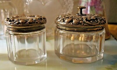 Pair of Antique Sterling Silver Crystal Matching Dresser Vanity Jars NO RESERVE