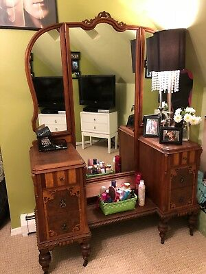 "1930""s Depression Era dresser, nightsttand, vanity and chair"