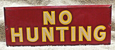 """Vintage """"No Hunting"""" Metal Sign Crushed Glass Reflective Bead Paint"""