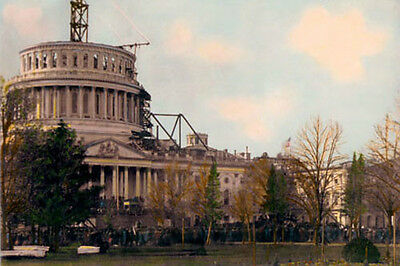 """US CAPITOL DOME LINCOLN INAUGURATION MARCH 4 1861 8x12"""" HAND COLOR TINTED PHOTO"""
