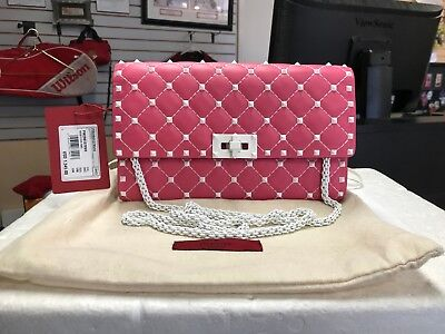 b4ea4d43bd Valentino Pink Leather Quilted Free Rockstud Spike Chain Clutch Shoulder Bag